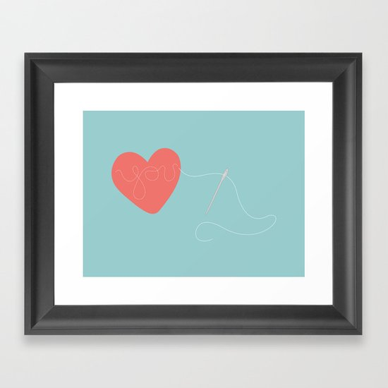 Stitched Heart Framed Art Print