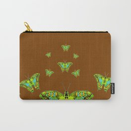GREEN-YELLOW MOTHS ON COFFEE BROWN Carry-All Pouch