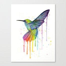 Hummingbird Rainbow Watercolor Canvas Print