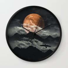 Spaces III - Mars above mountains Wall Clock