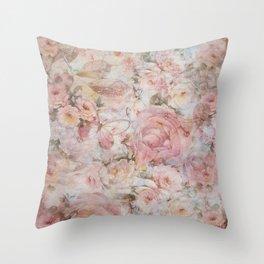 Vintage elegant blush pink collage floral typography Throw Pillow