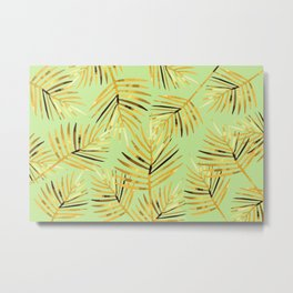 Palm Leaf - green light background Metal Print