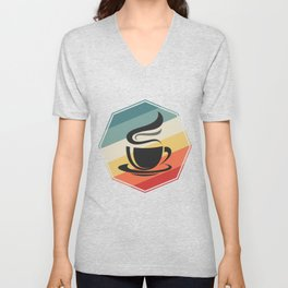 Barista Colorful Cup Of Coffee Unisex V-Neck