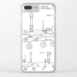 Nasa Mars Rover Patent - Mars Exploration Rover Art - Black And White Clear iPhone Case
