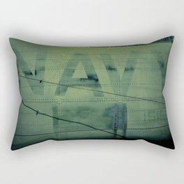 Fading Fuselage Navy Helicopter Airframe Green Rectangular Pillow