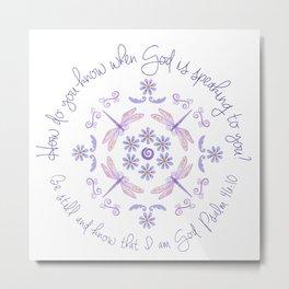 God Speaks. Lavender Dragonfly Pattern by Sandy Thomson Metal Print