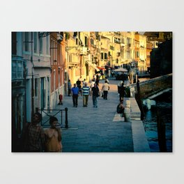 Along the Canal Canvas Print