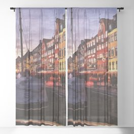Digital Painting of Copenhagen's Nyhavn at Night Just after Sunset Sheer Curtain
