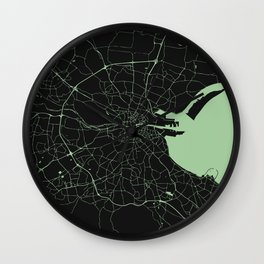 Dublin Street Map Black and Lime Green Wall Clock