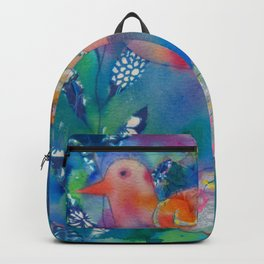 Colorful exotic and whimsical bird painting Backpack