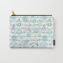 Sea shells illustration pattern. Blue with stripes. Summer ocean beach print. Carry-All Pouch
