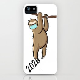 Sloth With Mask Hanging on to 2020  iPhone Case