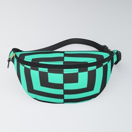 GRAPHIC GRID DIZZY SWIRL ABSTRACT DESIGN (BLACK AND GREEN AQUA) SERIES 5 OF 6 Fanny Pack
