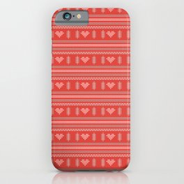 Hearts Knitted Christmas Decor iPhone Case