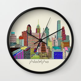 Philadelphia city sklyine Wall Clock