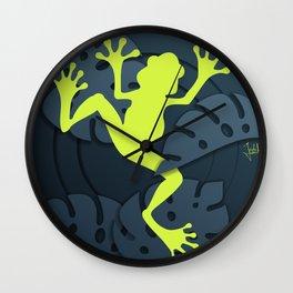 Tropical Frog Papercut Design Wall Clock