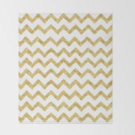 Chevron Gold And White Throw Blanket