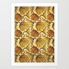 Retro 70's Golden Yellow Daisy Pattern  Art Print
