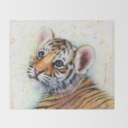 Tiger Cub Watercolor Cute Baby Animals Throw Blanket