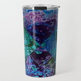 Psycho - Patchwork Quilt with Alternating Blue, Green, Purple Colors by annmariescreations Travel Mug