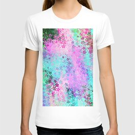 flower pattern abstract background in pink purple blue green T-shirt