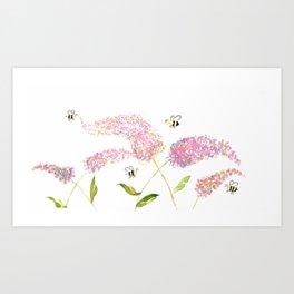 Of Buddleias & Bumble Bees Art Print