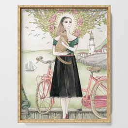 Girl and cat with pink bicycle Serving Tray