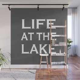 Life At The Lake - Grey and White Wall Mural