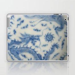 Damask vintage Monaco blue white girly ginger jar floral antique chinese dragon chinoiserie china Laptop & iPad Skin