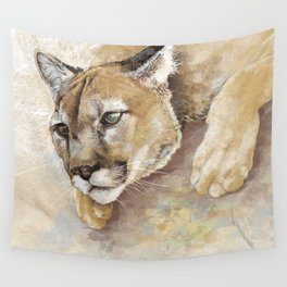 Captivated Mountain Lion Wall Tapestry