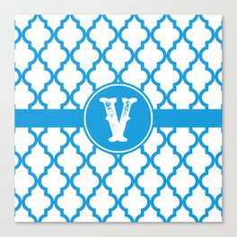 Blue Monogram: Letter V Canvas Print