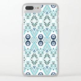 Ikat Java Blue Clear iPhone Case