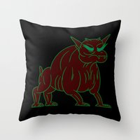 ghostbusters Throw Pillows featuring zuul - ghostbusters by Jon Boam