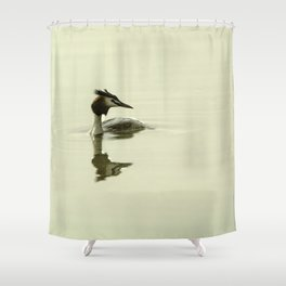 Photograph of a Grebe reflecting in the water Shower Curtain