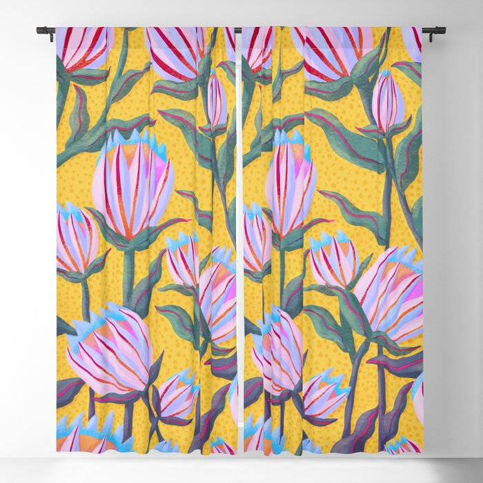 Bold Protea Flower Pattern - Pink Blue Green Purple Yellow Blackout Curtain