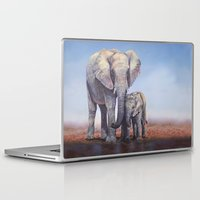 novelty Laptop & iPad Skins featuring Elephants Mom Baby by Moody Muse