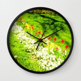 Red with white dots. Wall Clock
