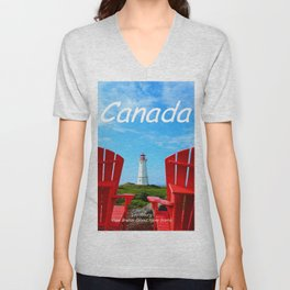 Chairs and Lighthouse, Canada Unisex V-Neck