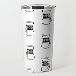 Chemex coffee maker black and white linocut minimal kitchen foodie pattern Travel Mug