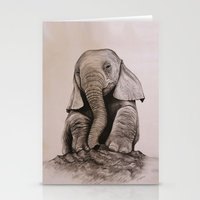 baby elephant Stationery Cards featuring Baby Elephant by haleyivers