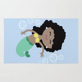 Black Hair Mermaid Rug