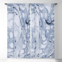 Powder blue water marble Blackout Curtain
