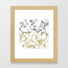 Black and white marble gold sparkle flakes Framed Art Print