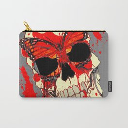HALLOWEEN BLOODY SKULL & BUTTERFLY ART Carry-All Pouch