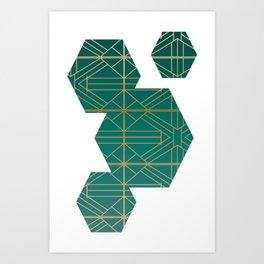 Emerald & Gold Fretwork Textile Art Print
