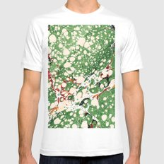 Marbled Green Bubbles MEDIUM White Mens Fitted Tee