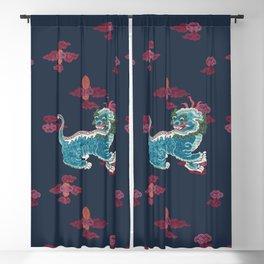 Foo beasties on navy Blackout Curtain