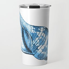 Shell coastal ocean blue watercolor Travel Mug