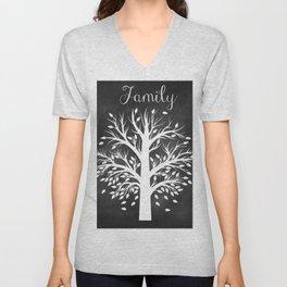 Family Tree Black and White Unisex V-Neck
