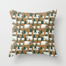 Polar Bears in the Forest - Dark Green Throw Pillow